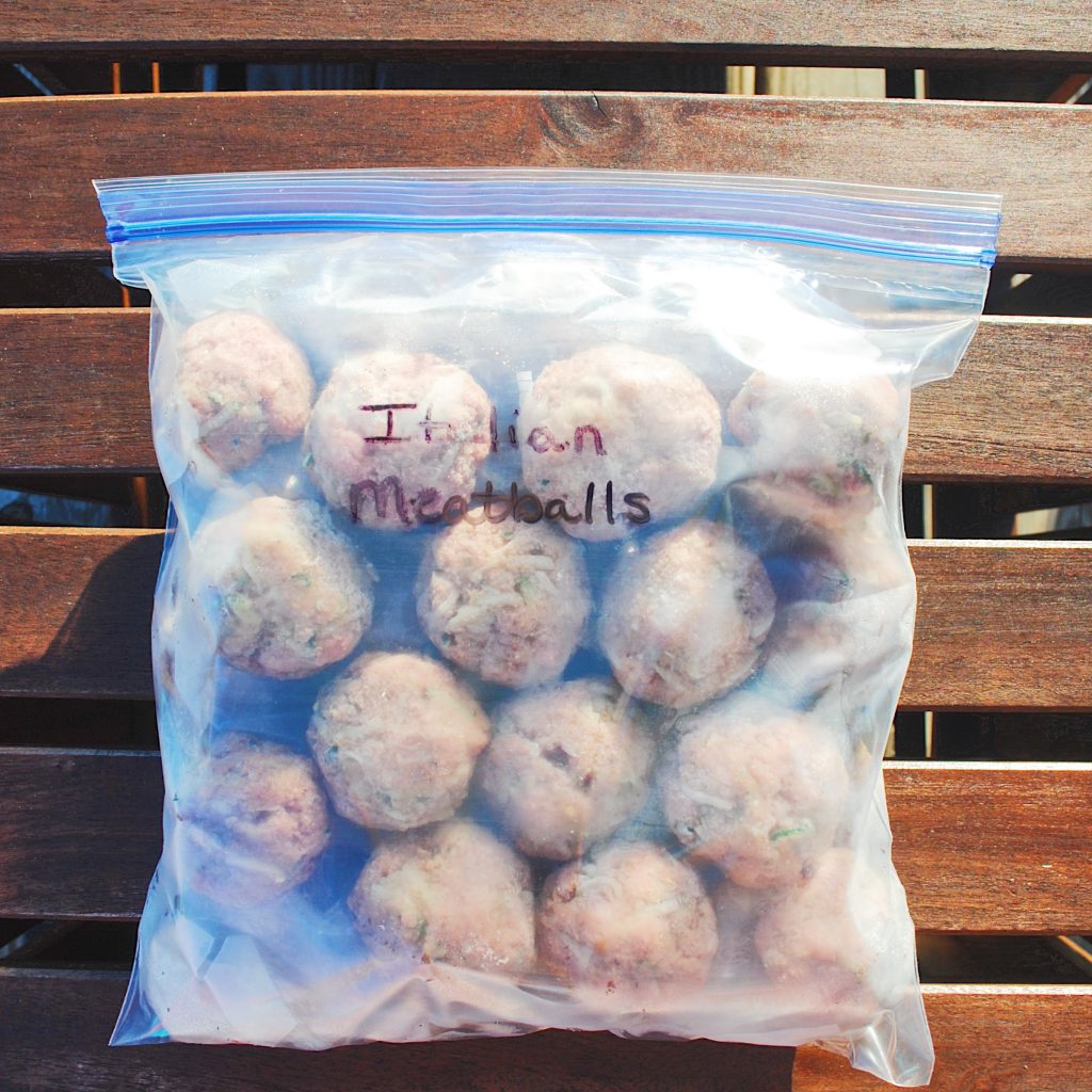 Freezer Baked Zucchini Meatballs