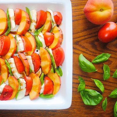 Peach Caprese Salad With A Balsamic Reduction